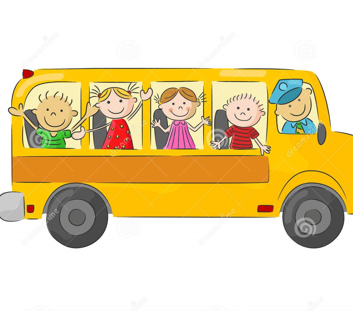 happy children cartoon school bus illustration 54300431